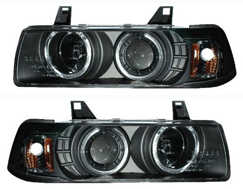 BMW 3 E36 92-98 4 DR 1 PC PROJECTOR HEADLIGHT G2 HALO BLACK CLEAR AMBER - Bmw 98 E36 Projector Halo