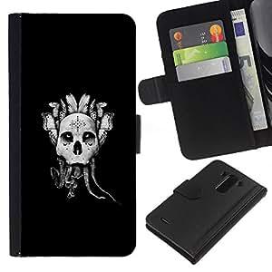 KLONGSHOP // Tirón de la caja Cartera de cuero con ranuras para tarjetas - Cráneo gótico abstracto - LG G3 //