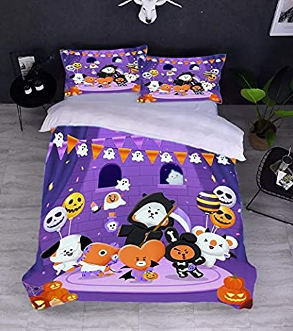 PINGJING BTS Love Yourself Bedding Sheet Set 2-Pieces 3-Pieces with Zipper and Security Ribbons Easy Care Textiles Bedroom Gift