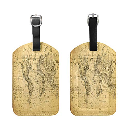 Stylish Patterned Private Luggage Tag, leather name ID tag with privacy cover, bescribe - vintage map of the world 1831-1-Piece