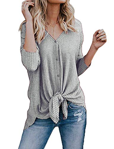 INWECH Women's Solid Color Front Knot Knit Button Down Sweaters Shirts Henley Long Sleeve Knitted Blouse Tops (X-Large, Grey)