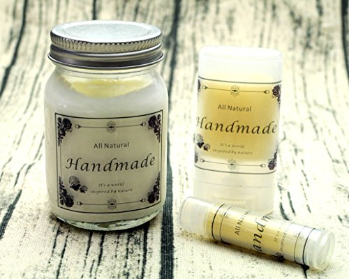 ZZYBIA Homemade Skincare Products Adhesive Labels Stickers for Lip Balm Handcream Candle Container Tubes 20pcs (Handmade for All Products)