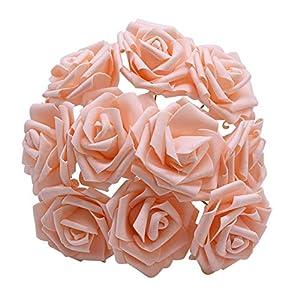 YONGSNOW 30Pcs/lot 8cm PE Foam Rose Artificial Flower Bouquets for Wedding Party Decoration (Rose Pink) 2