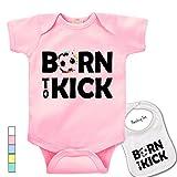 """ Born To Kick ""Cute soccer Printed Boutique Baby bodysuit onesie & matching bib"