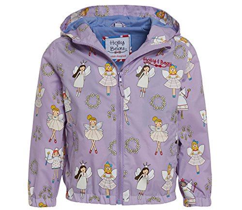 Girls Fairy Patterned Colour Changing Raincoat by Holly & Beau – Children's Purple Waterproof Coat that Changes Colour in the Rain - Age 5-6 (Patterned Raincoat)