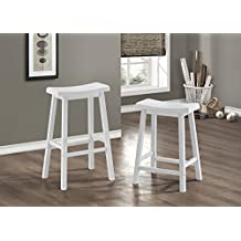 Monarch Specialties I 1534 White Saddle Seat Barstools (2-Piece Per Carton), 29""