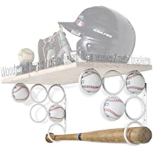 Wallniture Baseball Softball Bat Rack - Sports Accessories - Wood Shelf is not Included - Wall Mounted Shelf Brackets Only Iron White Set of 2