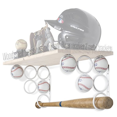Wallniture Baseball Softball Bat Rack - Sports Accessories - Wood Shelf is not Included - Wall Mounted Shelf Brackets Only Iron Set of 2 (White)