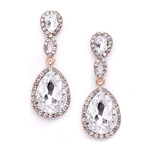 Mariell Rose Gold Crystal Dangle Earrings for Bridal, Wedding & Prom with Infinity Symbol Figure8