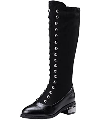 Women Long Boots Comfort Vintga Studded Zipper Black Fall Winter Faux Suede Mid-Calf Boots by BIGTREE