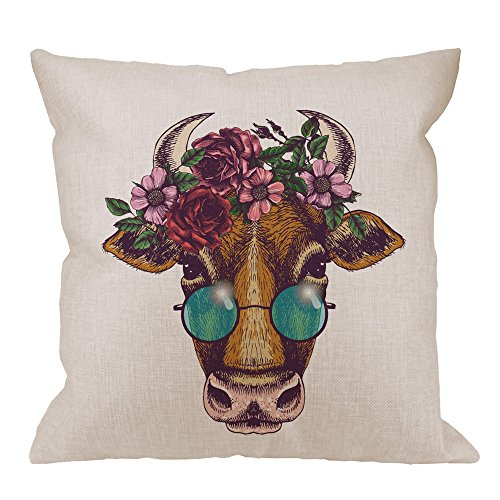 HGOD DESIGNS Cow Decorative Throw Pillow Cover Case,Funny Cow with Floral Wreath and Round Sunglass Cotton Linen Outdoor Pillow cases Cushion Covers For Sofa Couch Bed 18x18 inch Brown Pink