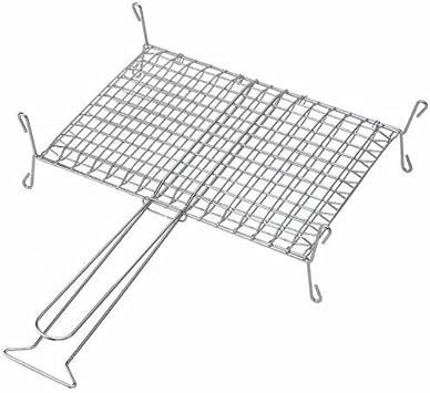 Grille enveloppante sur pieds en acier chromé pour barbecue