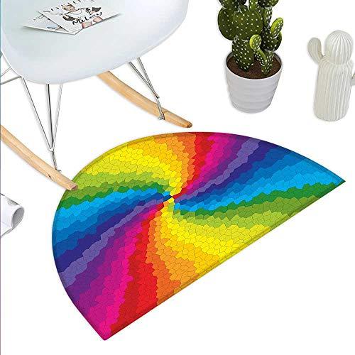 Door mats Stained Glass Design in Rainbow Colors Burst Effect Abstract Mosaic Swirls Artwork Bathroom Mat H 35.4
