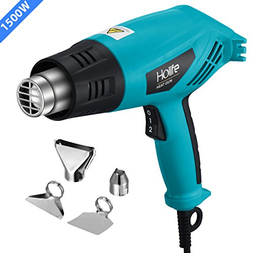 Heat Gun, HoLife 1500W Dual Temperature Hot Air Gun (662-1022) with Four Nozzle, Over-load Protection for Crafts, Shrink Wrapping, Removing Paint