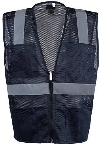 Safety Depot Mesh Reflective Safety Vest With Zipper and Pockets Hi Vis, Light Weight MSD1000 (Navy Blue, 4XL) ()