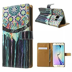ANGELLA-M For Samsung Galaxy S6 edge G9250 Case, Fashion Dreamcatcher Style Premium Synthetic PU Leather & Hard PC Inner Solid Stand [Magnetic Closure] with Card Slot, Folio Wallet Case Cover.