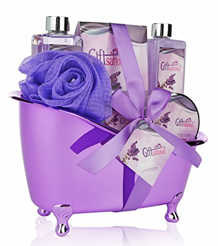 Spa Gift Basket Lavender Fragrance, Cute Tub-Shaped Holder With Bath Accessories, Best Wedding, Birthday or Baby Shower Gift Set, Includes Shower Gel, Bubble Bath, Body Scrub, Bath Salts, & Bath Bombs