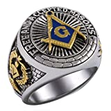 Square And Compass Masonic Blue Stone Free and Accepted Masons Ring White Version 18k Gold Pld BR-17