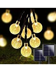2 peças de 50 lâmpadas de LED de 91 m, globo de cristal para ambientes externos, luzes solares IP65 à prova d'água com 8 modos de iluminação e liga/desliga automático para hotel de jardim, prédio comercial, shopping center, aniversário
