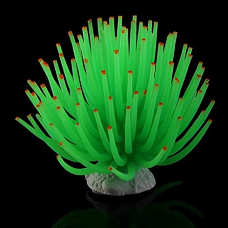 Coral Plástico Artificial Decoración para Acuario Pecera Peces Color Verde: Amazon.es: Hogar