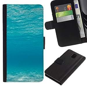 LECELL--Cuero de la tarjeta la carpeta del tirón Smartphone Slots Protección Holder For Samsung Galaxy Note 3 III -- Océano azul --