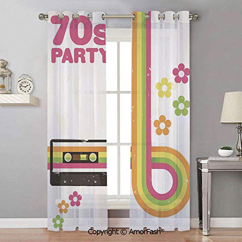 Semi Sheer 1970s - 70s Party Decorations Semi Sheer Curtains Room Thermal Insulated Curtain Panels Grommet for Living Room,42x90 Inch Party Flyer Inspired Cute Curved Stripes Daisies Audio Cassette Tape Decorative