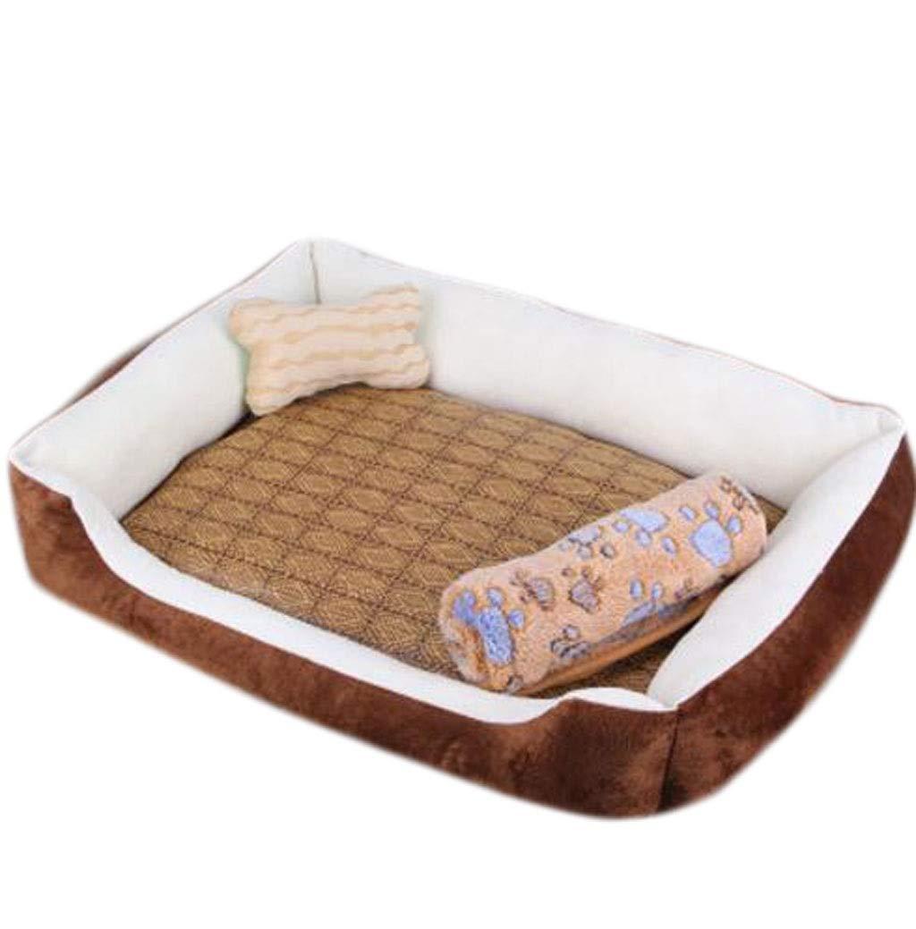 Brown XXLargeZJEXJJ Waterproof Kennel Summer Medium Large Dog Indoor Dog House Removable Wash Mat Pet Sofa Nest (color   Black, Size   XXL)