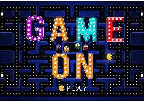 OERJU 12x8ft Game On Theme Birthday Backdrop Video Game Next Level Boys Birthday Photography Background Boy Baby Shower Party Cake Table Banners Game On Theme Gamer Party Decor