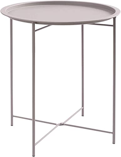 Furnius Folding Tray Metal Side Table, Sofa Table Small Round End Tables, Anti-Rust and Waterproof Outdoor or Indoor Snack Table, Accent Coffee Table, H 20.28 x D 16.38 , Light Grey