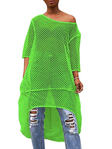 GLIENST Womens One Shoulder Hollow Out Shirt Summer Sexy Bikini Cover Up Mini Dress Green M