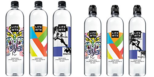 LIFEWTR, Premium Purified Water, pH Balanced with Electrolytes for Taste, 700 mL flip cap bottles (Pack of 12) and 1 liter bottles (Pack of 6)