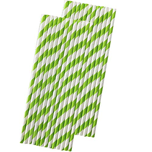Stripe Paper Straws - Lime Green White - 7.75 Inches - Pack of 50 - Outside the Box Papers Brand (Straws Green Lime Paper)