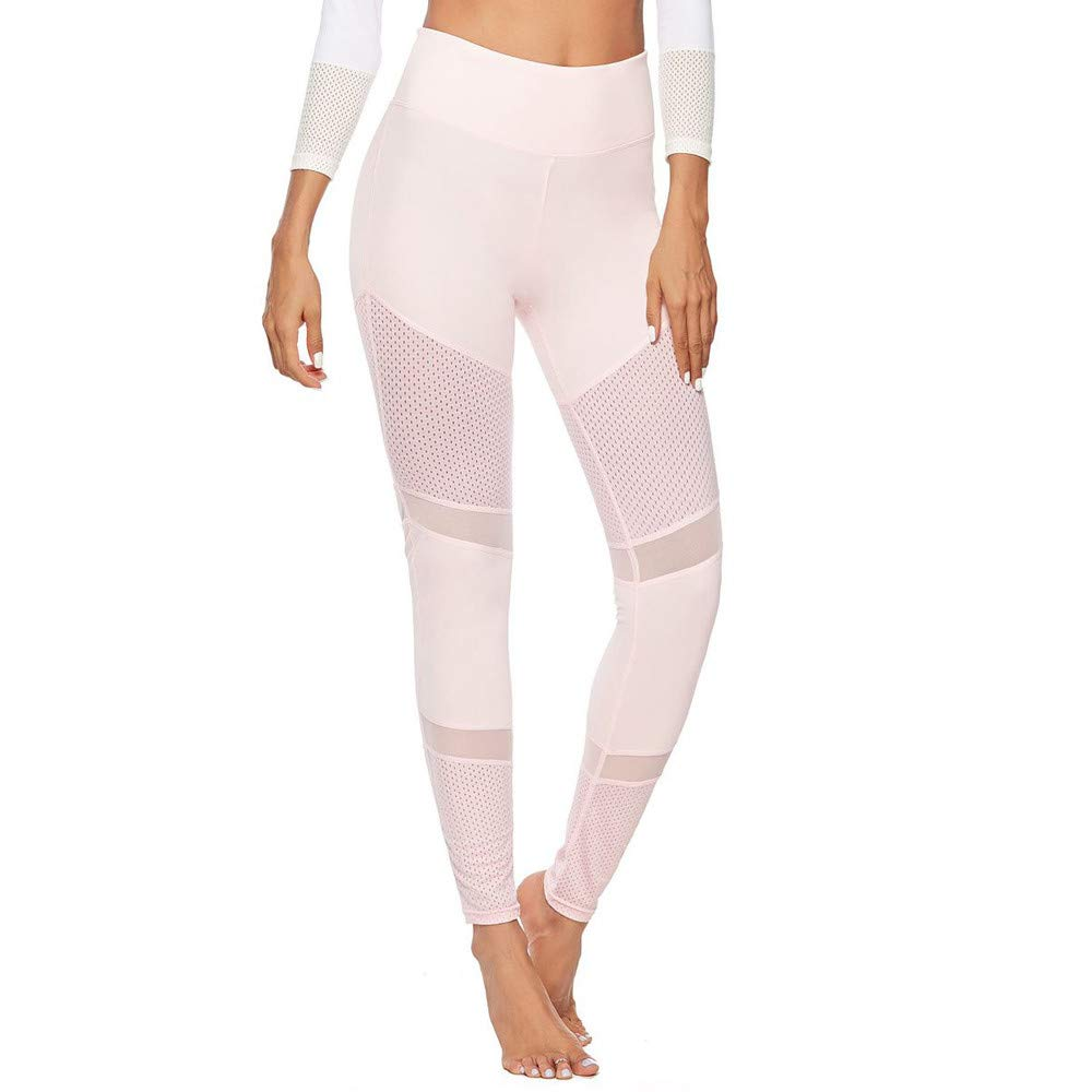 ❤️❤️AOmahh❤️❤️ High Waist Yoga Pants for Women,Solid Color Stitching Hollow Hip Yoga Pants Sports Pants Leggings (Pink, S)