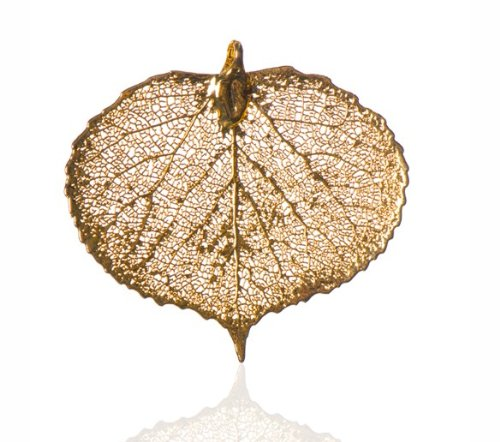 London Manori Real Aspen Leaf Pendant Dipped in 24 Karat ...