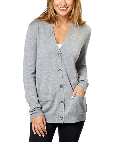 Kirkland Signature Women 100% Extra Fine Merino Wool Cardigan (Light Grey, XX-Large)