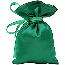"50 Satin Drawstring Gift Pouch Small Wedding Party Favors Bag -5"" x 7 inches Baby Shower Thank You Pouches- Emerald Green"