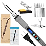 Welding Soldering Iron with Thermostatic Digital-Controlled and LCD Screen Display, 60 W Temperature Adjustable 80℃/356℉-480℃/896℉ with 5 PCS Soldering Bits, 2 Soldering Iron Stands & 1 Sponge
