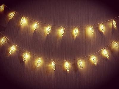 20PCS Photo Clips LED String Lights USB Powered 10.5Ft Christmas Indoor/ Outdoor Decorative Lights,Fairy Twinkle Lights for Hanging Pictures Cards and Memos Wedding Party , Warm White