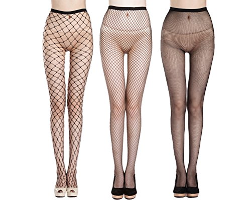 Ypser Trendy Women's Fishnet Socks Black Mesh Tights Multi-Style Knee-High Ankle-High Panty Hose (Black Fishnet Knee Highs)