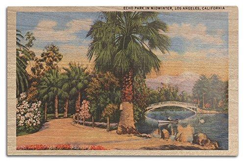 Lantern Press Echo Park in Midwinter - Los Angeles, California, 1950 (Wood Wall Sign, Wall Decor Ready to Hang)