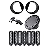 7pcs Mesh Grille Insert + 2X Angry Headlight Bezels + 2X Hood Lock + 1X Fuel Cap Cover Kit for 07- 16 Jeep Wrangler JK Unlimited 2 4 DR