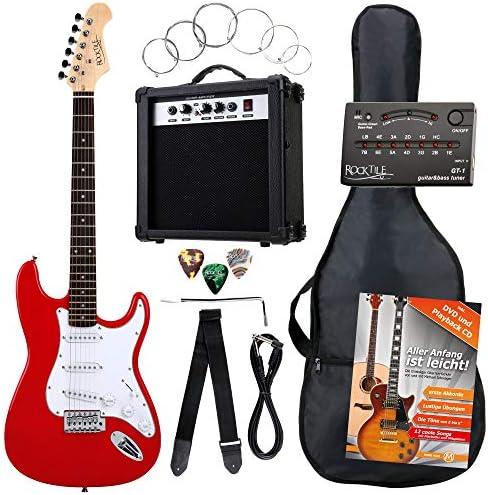 Rocktile ST Pack guitarra eléctr Set rojo incl. ampl, bolsa, afinador, cable, correa, cuerdas: Amazon.es: Instrumentos musicales