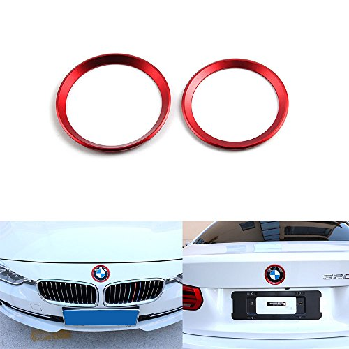 Duoles Car Front Rear Logo Decoration Cover Ring Trim Hood Emblem Ring for 2013-2016 BMW 3 Series 320Li 328Li 316/BMW 4 Series M3 M4 (red)