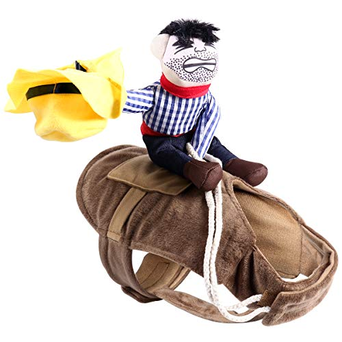 UEETEK Pet Costume Dog Costume Clothes Pet Outfit Suit Cowboy Rider Style,Fits (M)]()