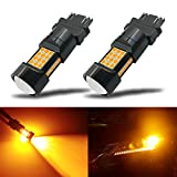 Automotive : iBrightstar Newest Extremely Bright 36-SMD 3030 Chipsets 3156 3157 3057 4157 LED Bulbs with Projector Lens Replacement for Turn Signal Lights, Amber Yellow