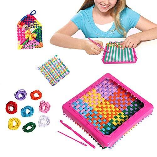 Zinnor Children Sewing Kit, 7 Craft Loop Weave Loom Toy Yarn Craft Set Deluxe Loom Kit, Makes 5 Potholders
