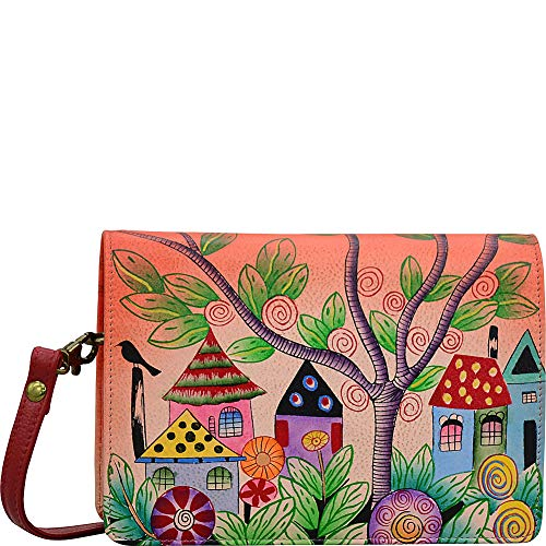ANNA by Anuschka Hand Painted Leather Two Fold Wallet On A String (Village Of