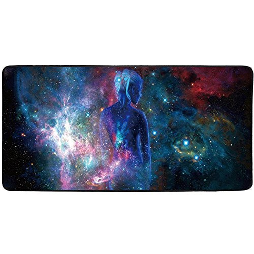 Large Mouse Pad, DINOWIN Extended Gaming Mouse Pad 900x400x2mm Non-Slip Rubber Mice Pads with Stitched Edges (Sky Girl)