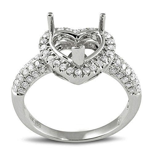 Dazzlingrock Collection 0.56 Carat (ctw) 18K Diamond Semi Mount Heart Cut Diamond for Center Engagement Ring, White Gold, Size 5
