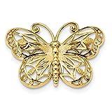 14K Diamond-cut Polished & Satin Butterfly Pin